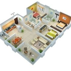 Three bedroom house blueprints 3 bedroom house designs and f 3d House Plans, House Layout Plans, House Blueprints, Dream House Plans, House Layouts, Small House Plans, Home Plans, Indian House Plans, House Design 3d