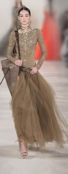 love the color and love the idea of creating a design just with the crystals!  Ralph Lauren ss 2015