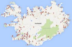 A map of all the Camping sites in Iceland
