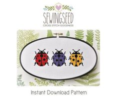 Ladybug Cross Stitch Pattern available for instant download via Etsy.    These ladybugs can be stitched as a group as shown, or individually, as this