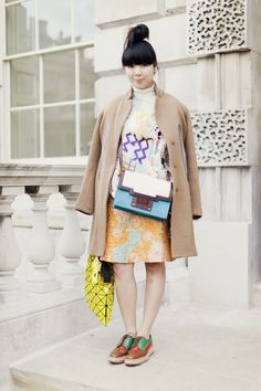 Susie Bubble wearing BAO BAO bag at London Fashion Week Runway Fashion 1329c7ac723f4