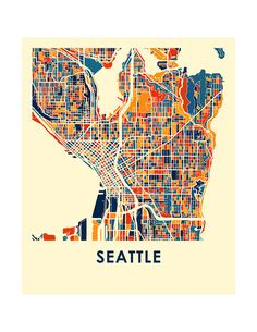 Seattle Map Print Full Color Map Poster by iLikeMaps on Etsy