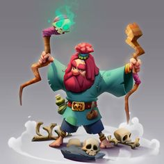 Red Beard Wizard by Hossein Ojaghi Game Art, Character Art, Character Design, Hero Games, Red Beard, Cartoon Characters, Fictional Characters, Visual Development, Animation