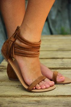 The Space Between Us Sandals: Cognac #shophopes