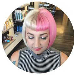 Platinum blonde bob, with Keune pastel pink. Betty page bangs. @DRobertsSalon @dallasroberts__   Dallas Roberts Salon, West Jordan, Utah. Hair Salon. cut by Carley Throgmorton. Color by Lindsey Tausinga #Pinkhair #pastelpinkhair