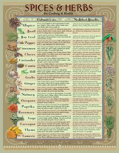Healing Herbs & Spices Kitchen Chart A beautifully designed Healing Spices and Herbs chart for any Kitchen! Your daily spices provide tasty, and savory culinary delights, yet are filled with healthy vitamins and minerals and other compounds, that when eat Natural Health Remedies, Herbal Remedies, Cold Remedies, Bloating Remedies, Natural Remedies For Allergies, Sunburn Remedies, Pimples Remedies, Arthritis Remedies, Holistic Remedies