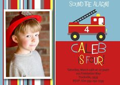 RED FIRETRUCK INVITATION with Photo- Personalized and Printable