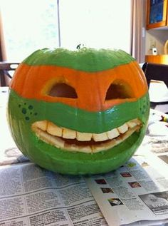 A Teenage Mutant Ninja Turtle Pumpkin could save the day!