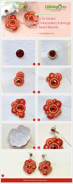 Tutorial on How to Make Red Flower Embroidery Earrings with Seed Beads from LC.Pandahall.com #pandahall