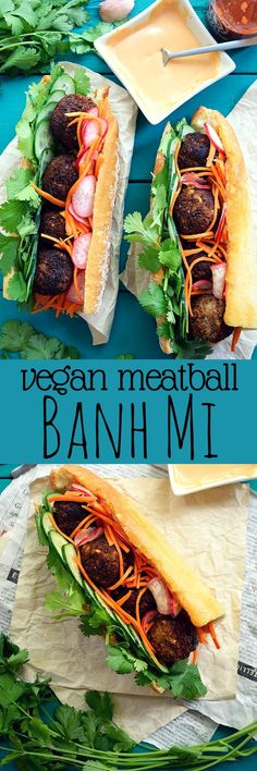 Vegan meatball banh mi could just be the world´s tastiest sandwich. Fresh herbs, warm meatballs, sweet and sour pickle and spicy homemade vegan sriracha mayo.