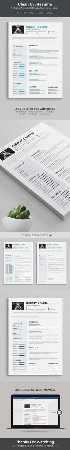 Resume Resume Word Template / CV Template with super clean and modern look. Clean Resume Template page designs are easy to use and customize, so you can quickly tailor-make your job resume for any opportunity and help you to get your job. This Infographic Resume CV Template is made in Adobe Photoshop, Illustrator format and very popular word processor, MS Word aka Microsoft Word.