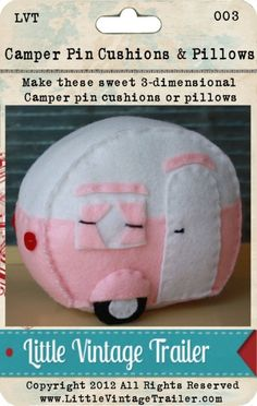 Vintage Camper Trailer Glamping Pin Cushion or Pillow 3-Dimensional Instant Download Pattern