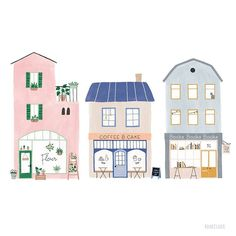 Remember I showed little sneak peeks and asked if you could guess what it was going to be? Well, this is the first one, a plant shop! Building Illustration, House Illustration, Illustrations, Weird Drawings, Art Drawings, Illustration Inspiration, Cute Little Houses, Buch Design, House Drawing