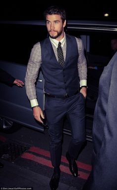 Navy Vest and Trouser with Plaid Shirt