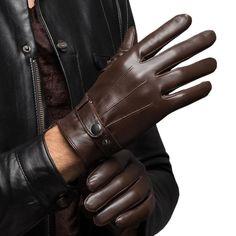 Men s Warm Lambskin Genuine Leather Gloves Men Winter Driving Black Brown 8597