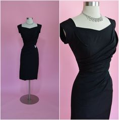 "1950's Vintage Black Rayon Draped Cocktail Wiggle Dress 26""-27"" Waist"