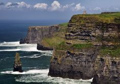 The  Cliffs of Moher, Co. Clare, Ireland are made of strata of clayey schist alternating with sandstone.