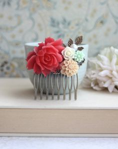 Coral Red Rose, Mint, Ivory, Vanilla Latte, Flowers, Pearl, Leaf Hair Comb.
