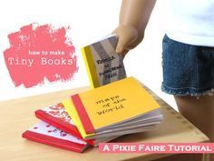 Make these doll-sized books! Easy no-sew miniature book tutorial on Pixie Faire.com! They're fun and fast, and it's easy to give your doll a whole new library.
