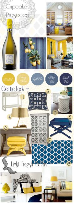 Check out Decor & Decanters' second blog post... Navy/yellow/white... **a way to use those navy curtains?**