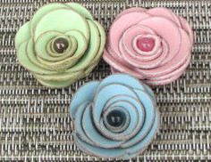 3 handmade leather rose flower embellishments jewelry making supplies applique, lime green, sky blue, pastel pink DIY
