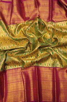 Bridal Silk Saree, Saree Wedding, Fancy Sarees With Price, Golden Saree, Smocking Tutorial, Pattu Saree Blouse Designs, Pure Silk Sarees, Mulberry Silk, Green Fabric