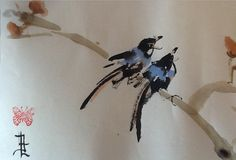 Birds #sumie #brushpainting #Ink and Wash Painting #Chinese Art #Japanese Art