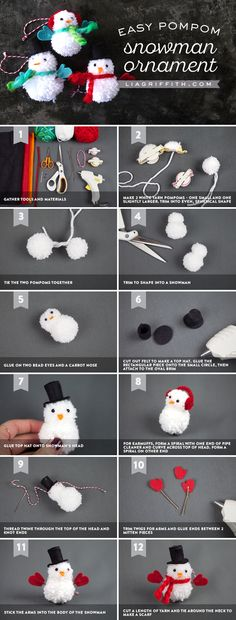 Pom Pom Snowman Ornaments is part of Holiday Kids Crafts Pom Poms Learn how to make these easy and adorable DIY snowman ornaments for your Christmas tree with yarn pom poms This is a wonderful and - Christmas Pom Pom Crafts, Diy Christmas Ornaments, Christmas Projects, Kids Christmas, Holiday Crafts, Christmas Decorations, Christmas Snowman, Crochet Christmas, Christmas Trees
