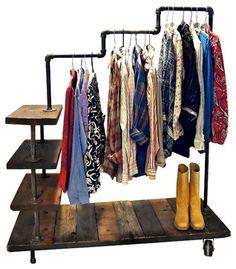 Lucy Industrial Pipe Garment Rack - industrial - clothes racks - Oilfield Slang/Stella Bleu Designs