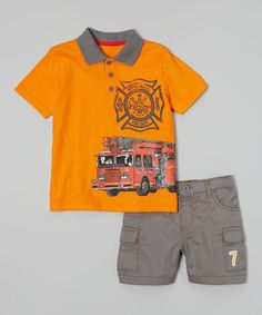 This Orange 'Fire Dept' Polo & Khaki Shorts - Infant, Toddler & Boys by Peanut Buttons is perfect! #zulilyfinds