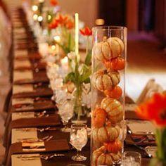 mini pumpkins centerpiece - autumn table - Halloween party - autumn wedding - banquet