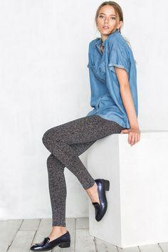 Leggging Estampado Motas | Pantalones de Mujer en Cortefiel