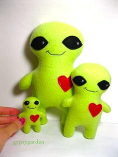 Alien buddy family! Now alien buddies come in tiny, regular and large sizes!   Large: $20 regular: $16 tiny: $10   Email me (check about section of facebook page) for a paypal invoice and I can ship your order directly to you!  www.facebook.com/designsbyclaireernstsen Handmade Stuffed Animals, Party Themes, Pikachu, Dinosaur Stuffed Animal, Halloween Costumes, Toys, Aliens, House Ideas, Ship