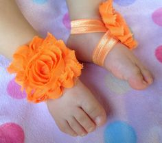 Orange barefoot Baby Sandalsbaby barefoot by PicturePerfectDiva, $5.99