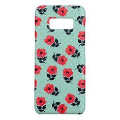 #stylish - #Beautiful Red & Aqua Floral Pattern Case-Mate Samsung Galaxy S8 Case