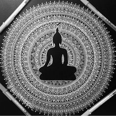 Just for fun posting the colorful Buddha mandala in black and white - still looks gorgeous right ? 😊 if you wish to see the colored version scroll through few posts you will find it. Drawn with jelly roll pens. Buddha Drawing, Doodle Art Drawing, Buddha Painting, Buddha Art, Mandala Drawing, Art Drawings, Wall Drawing, Painting Canvas, Mandala Doodle