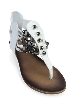 Studed white thong sandal
