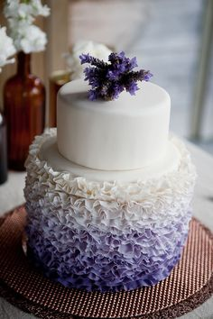 Nigerian Wedding Trends: 23 Simply Rich, Ribboned, & Radiant Ruffled Ombre Wedding Cake Ideas But make the purple a Tiffany blue. Fondant Wedding Cakes, Purple Wedding Cakes, Cool Wedding Cakes, Lilac Wedding, Wedding Colors, Spring Wedding, Dessert Wedding, Wedding Sweets, Wedding White