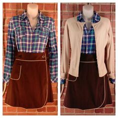 SO blue checker shirt M $10; J.J. Basics tan cardigan M $12; INC brown short wrap skirt pockets 10 $10