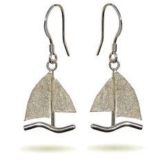 2/3 BOATS - Sailboats Silver Drop Earrings, by Handmade Silver Jewellery, £32
