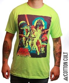 STAR WARS A NEW HOPE - High Quality Tshirt NEON COLORS Classic Movie Poster COOL