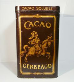 Régi nagy méretű Kugler Henrik Gerbeaud Cacao doboz / Vintage Chocolate Box, Candy Box
