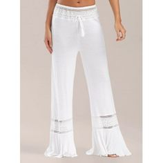 High Waisted Lace Insert Wide Leg Pants - WHITE WHITE