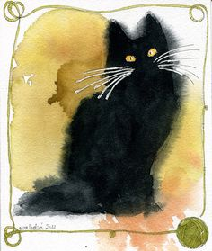 Watercolor Cat Cards by Ewa Ludwiczak, via Behance