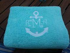 Anchor Monogram  beach towel Summer fun Birthday Gift  Pink Summer Beach Trip Pool Time