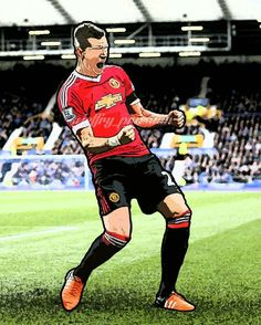 Morgan Schneiderlin. First goal, first celebration for @manutd
