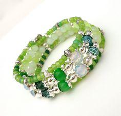 Green Memory Wire Bracelet, Spring Jewelry, Flowers Cuff with Matching Earrings by ZandrasJewelry on Etsy