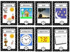 Time Vocabulary Cards - This is a set of 24 time vocabulary cards that make a great addition to a primary unit on time or measurement.