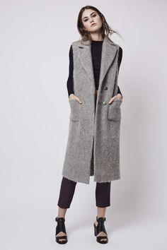 Textured Wool Blend Sleeveless Coat - Coats - Clothing - Topshop