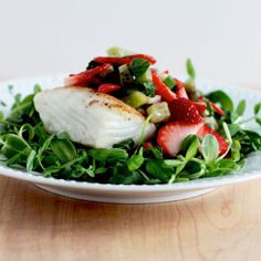Seared Halibut with Microgreens Salad - Replace strawberries with raspberries and add red pepper flakes instead of cayenne.